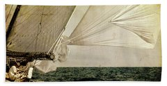 Hand Towel featuring the photograph Hanged On Wind In A Mediterranean Vintage Tall Ship Race  by Pedro Cardona