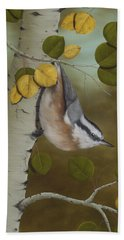 Hanging Around-red Breasted Nuthatch Bath Towel by Rick Bainbridge