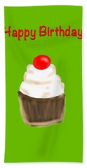 Hand Towel featuring the digital art Happy Bday W A Cherry On Top by Christine Fournier