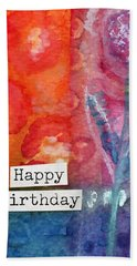 Happy Birthday- Watercolor Floral Card Hand Towel