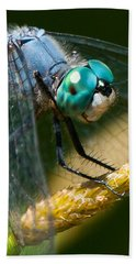 Hand Towel featuring the photograph Happy Blue Dragonfly by Janis Knight