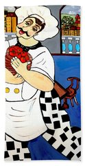 Hand Towel featuring the painting Chef  Happy Chef by Nora Shepley