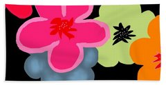 Hand Towel featuring the digital art Happy Flowers Pink by Christine Fournier