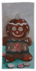 Happy Gingerbread Man Bath Towel by Victoria Lakes