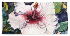 Hand Towel featuring the painting Happy Hawaiian Hibiscus by Marionette Taboniar