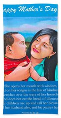 Hand Towel featuring the mixed media Happy Mom And Babe by Cyril Maza