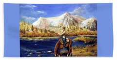 Hand Towel featuring the painting Happy Trails by Bernadette Krupa