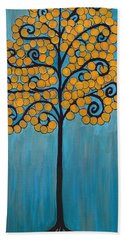 Happy Tree In Blue And Gold Hand Towel