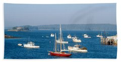 Harbor View Of Lobster Village Hand Towel