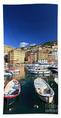 Hand Towel featuring the photograph Harbor With Fishing Boats by Antonio Scarpi