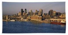 Harbor With The City Skyline, Montreal Bath Towel