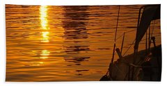 Hand Towel featuring the photograph Harbour Sunset by Clare Bevan