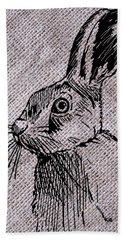 Hare On Burlap Hand Towel