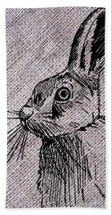 Hare On Burlap Bath Towel