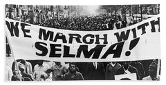 Harlem Supports Selma Hand Towel by Stanley Wolfson