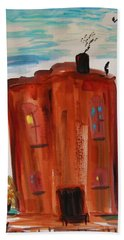 Bath Towel featuring the painting Harlem Townhouse by Mary Carol Williams