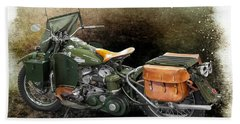 Harley Davidson 1942 Experimental Army Bath Towel by Barbara McMahon