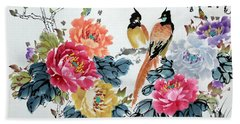 Bath Towel featuring the painting Harmony And Lasting Spring by Yufeng Wang