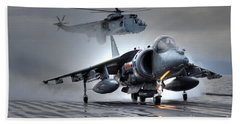 Harrier Gr9 Takes Off From Hms Ark Royal For The Very Last Time Hand Towel by Paul Fearn