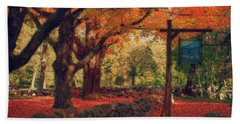 Hand Towel featuring the photograph Hartwell Tavern Under Orange Fall Foliage by Jeff Folger