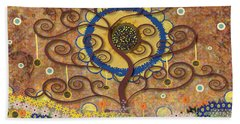 Hand Towel featuring the tapestry - textile Harvest Swirl Tree by Kim Prowse