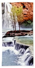 Havasau Falls Painting Hand Towel by Bob and Nadine Johnston