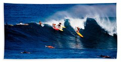 Hawaii Oahu Waimea Bay Surfers Hand Towel