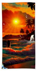 Bath Towel featuring the digital art Hawaiian Islands by Michael Rucker