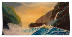 Hawaiian Turquoise Sunset   Copyright Hand Towel