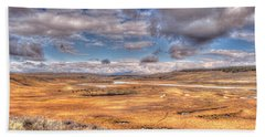 Hayden Valley Bison On Yellowstone River Bath Towel
