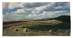 Hayrolls On Swirl Field In Latrobe By Christopher Shellhammer Hand Towel