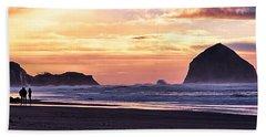 Haystack Rock Beach Walk Sunset Bath Towel