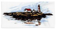 Head Harbour Lighthouse - Field Sketch Bath Towel