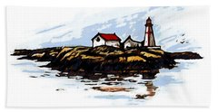 Head Harbour Lighthouse - Field Sketch Hand Towel