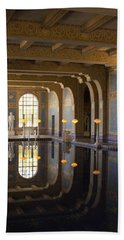 Hearst Castle Roman Pool Reflection Hand Towel by Heidi Smith