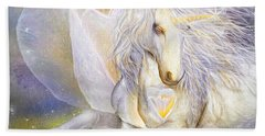 Hand Towel featuring the mixed media Heart Of A Unicorn by Carol Cavalaris