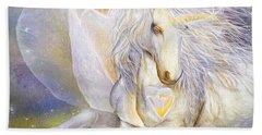 Bath Towel featuring the mixed media Heart Of A Unicorn by Carol Cavalaris