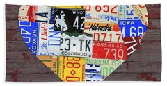 Heart Of America Usa Heartland Map License Plate Art On Red Barn Wood Bath Towel
