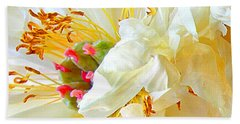 Hand Towel featuring the photograph Heart Of Peony by Nareeta Martin