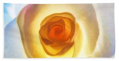 Bath Towel featuring the photograph Heart Of The Rose by Peggy Hughes