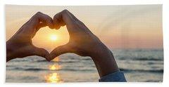Heart Shaped Hands Framing Ocean Sunset Bath Towel