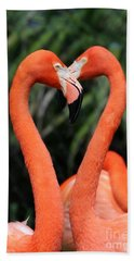 Heart To Heart Flamingo's Hand Towel