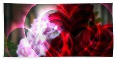 Hearts A Fire Hand Towel by Kay Novy