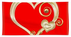 Hearts In Gold And Ivory On Red Hand Towel