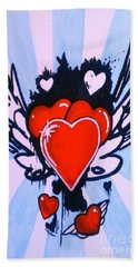 Hand Towel featuring the painting Hearts by Marisela Mungia