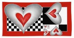 Hearts On A Chessboard Bath Towel