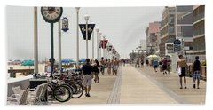 Heat Waves Make The Boardwalk Shimmer In The Distance Hand Towel