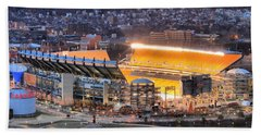 Heinz Field At Night Hand Towel by Adam Jewell