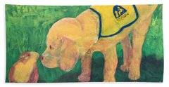 Hand Towel featuring the painting Hello - Cci Puppy Series by Donald J Ryker III