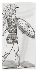 Helmeted Greek Warrior Wearing Greaves And Armour Holding A Clipeus Shield And Sword. From The Hand Towel